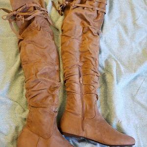 NWOT JustFab Tan OverKnee Boots + Cedar Inserts!